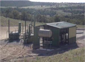 This compressor station is one of many in the San Juan Basin, New Mexico, one of the largest natural gas fields in the U.S. Photo courtesy of Jessie Bunkley
