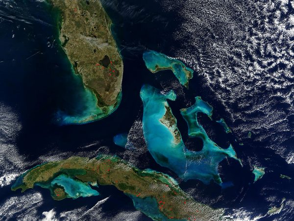 An aerial view of Florida and the Bahamas