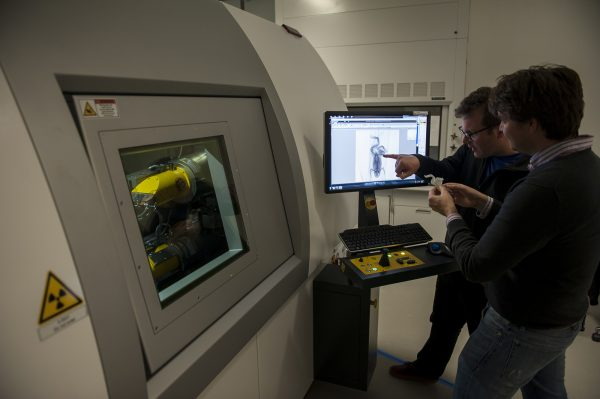 Co-principal investigator Ed Stanley, right, and David Blackburn compare a CT scan of a frog with a 3-D printed replica. Florida Museum of Natural History photo by Kristen Grace