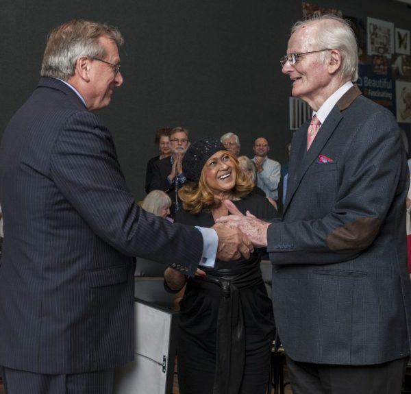 University of Florida President W. Kent Fuchs, left, congratulates Peter Pritchard on receiving the 2017 Carr Medal Award. Florida Museum photo by Kristen Grace