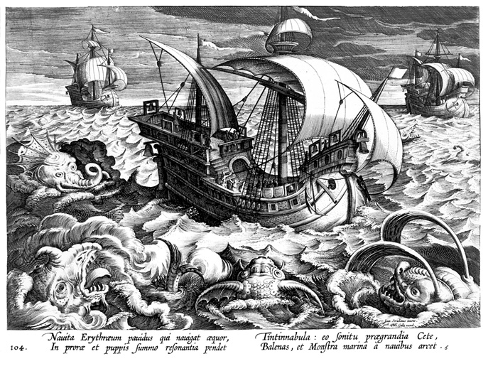 engraving of sea monsters