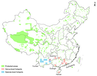 This map highlights the discrepancy between conservation areas and where China's floral diversity is concentrated. Nature preserves and parks are shown in green while blue and red boxes mark biodiversity hotspots. Figure by Li-Min Lu et al. in Nature