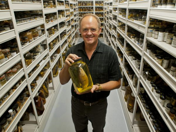 Larry Page holding a specimen in the Florids Museum's ichthyology collection