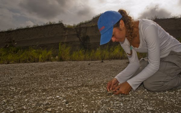Pimiento examining a fossil shark tooth