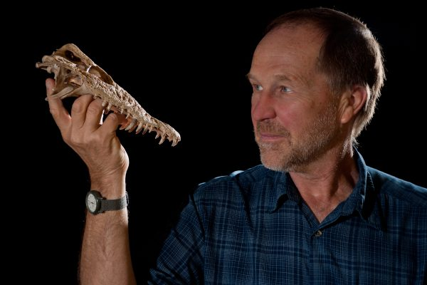 Steadman with crocodile skull