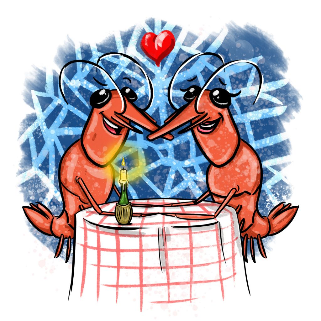 Cartoon of two shrimps at a romantic candlelit dinner inside a sponge