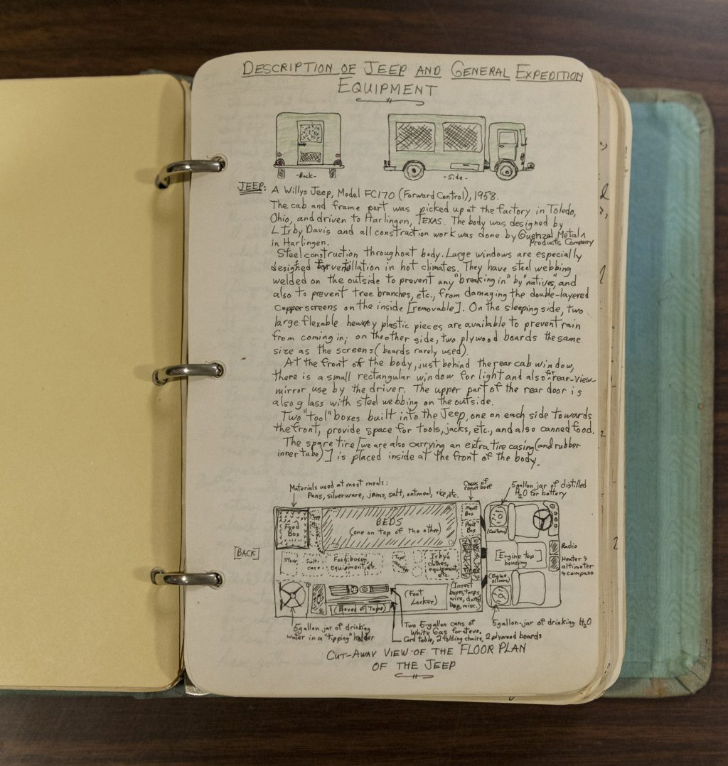 hand-written field notes in a paper journal