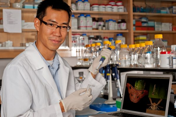 Akito Kawahara in the lab