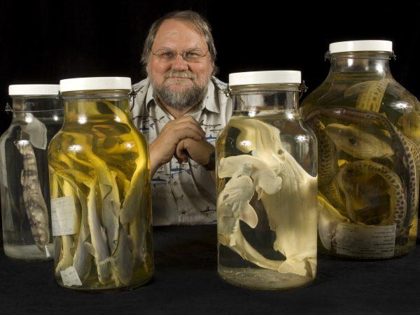 Burgess with shark specimen jars