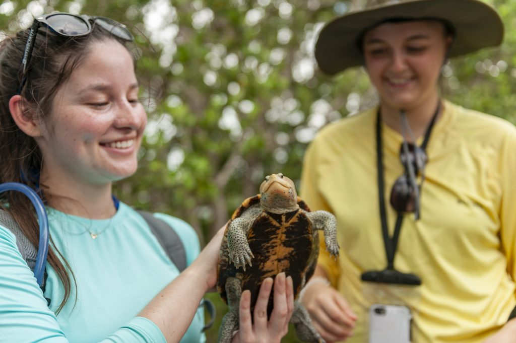 student holds a terrapin turtle