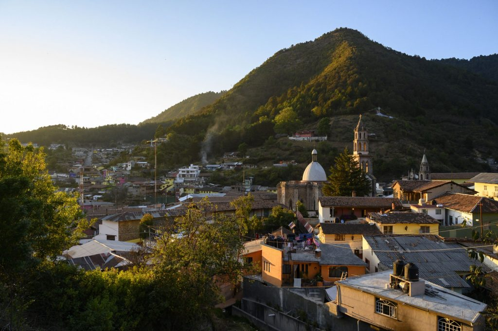 The town of Angangueo nestled in the Sierra Madre mountains