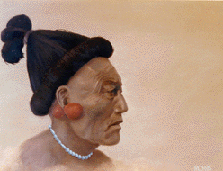 painting of Florida native man with elaborate hairstyle and jewelry