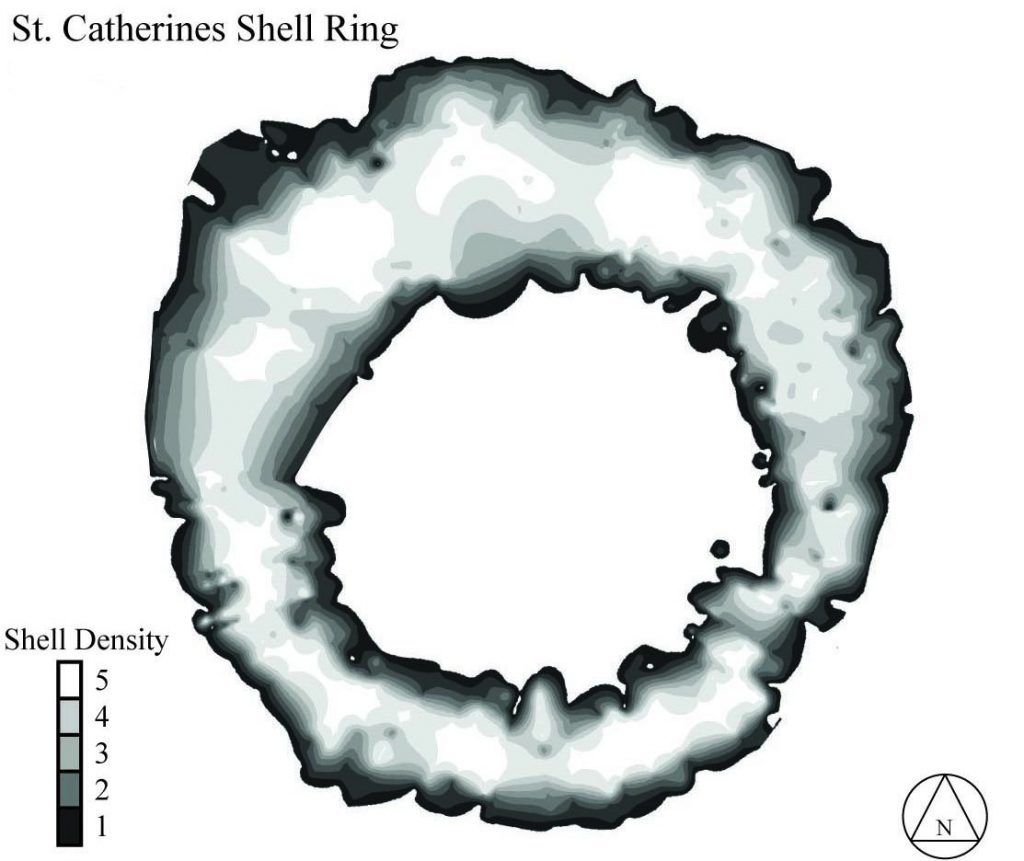 A computer-generated map showing the density of oyster shells throughout St. Catherines shell ring