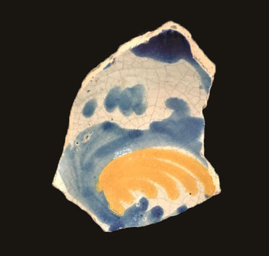 piece of glazed pottery