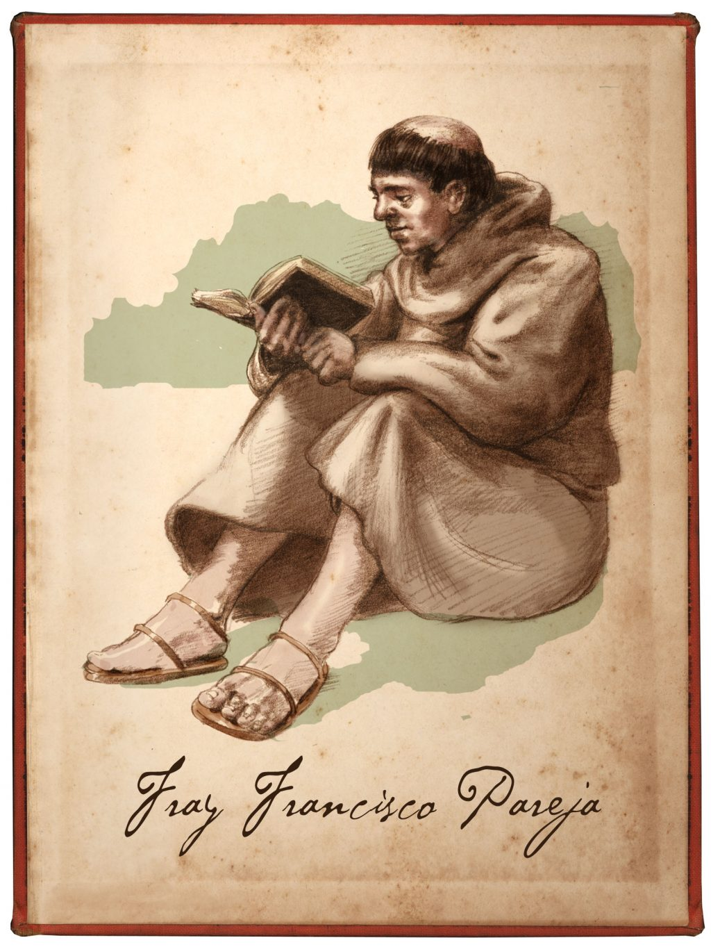 illustration of seated friar