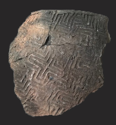piece of stamped pottery