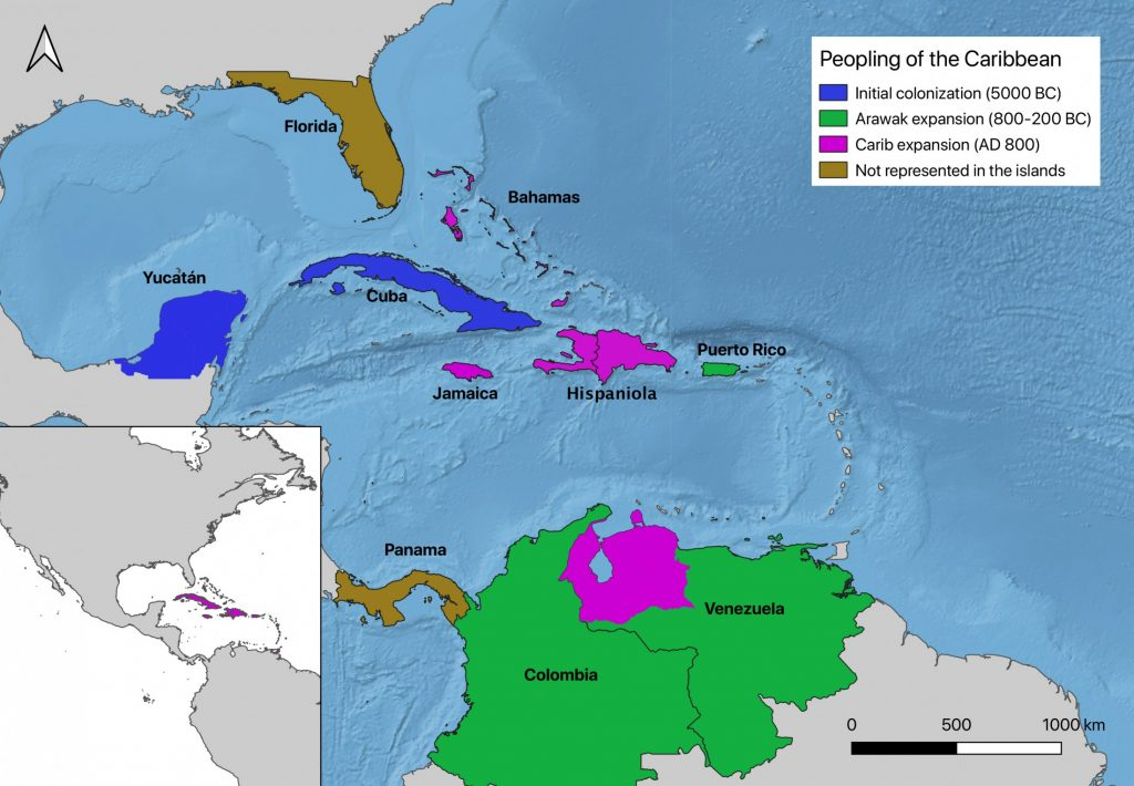 map of Caribbean with shaded regions