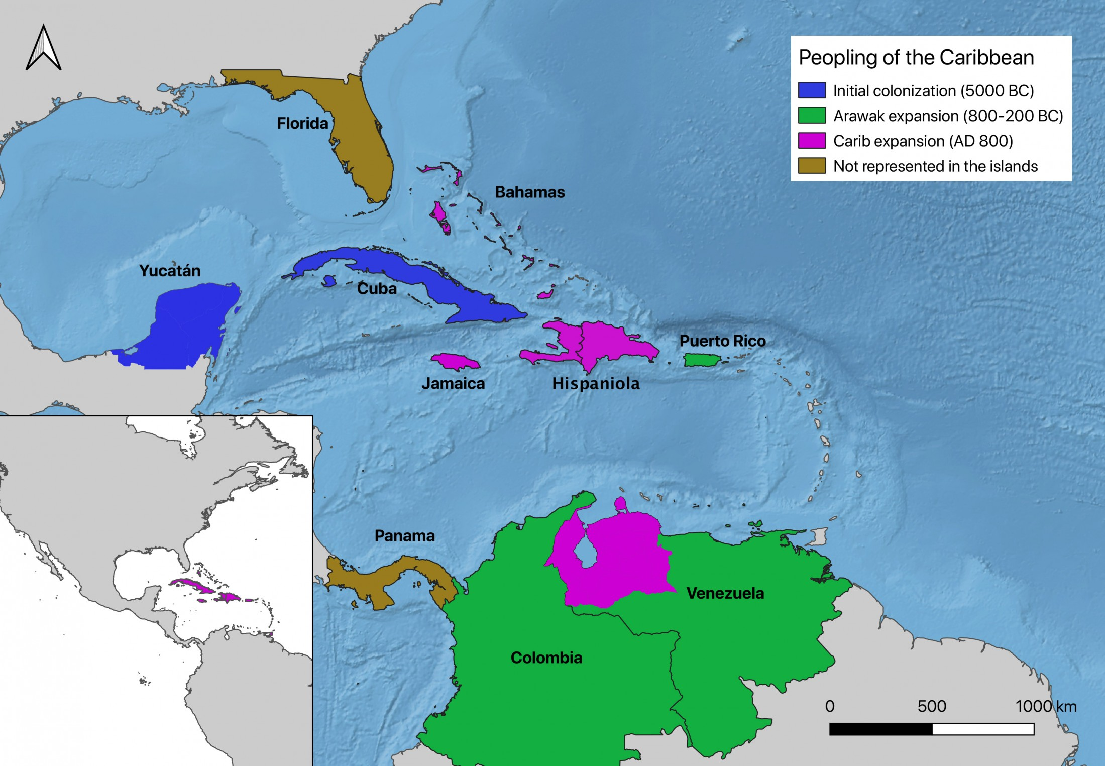 The map shows the three waves of colonization of the Caribbean