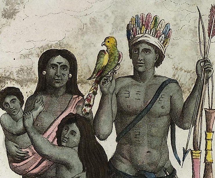 A painting shows a Carib family, with a mother holding an infant and hugging a young child while the father holds weapons and a bird