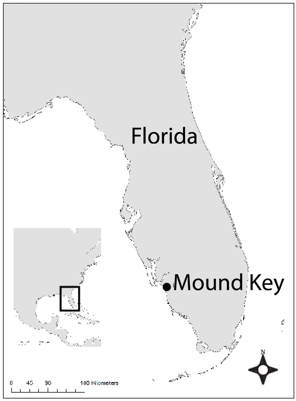 map of Florida showing location of Mound Key