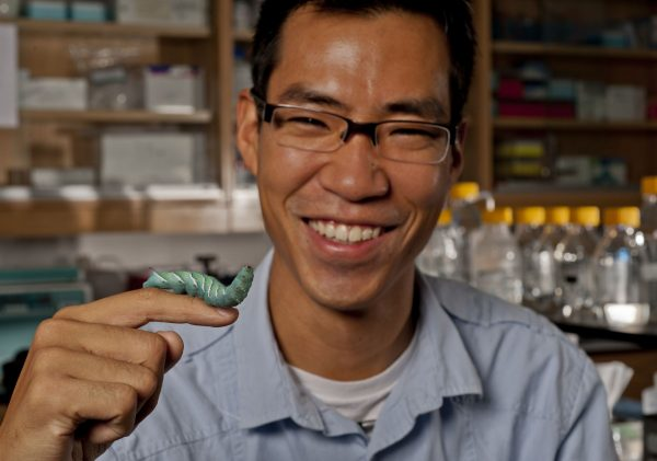 Akito Kawahara with caterpillar