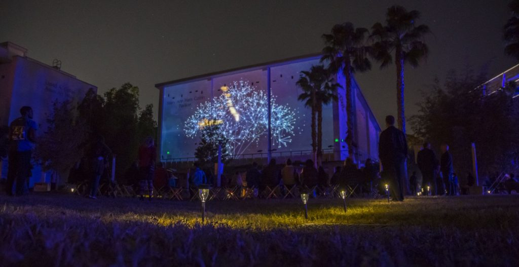 A projection on the Samuel P. Harn Museum of Art