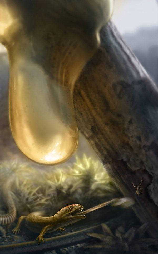 artist's rendering of albanerpetontid catching prey