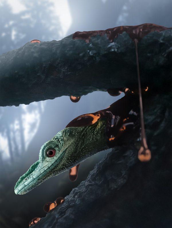 illustration of extinct lizard in forest