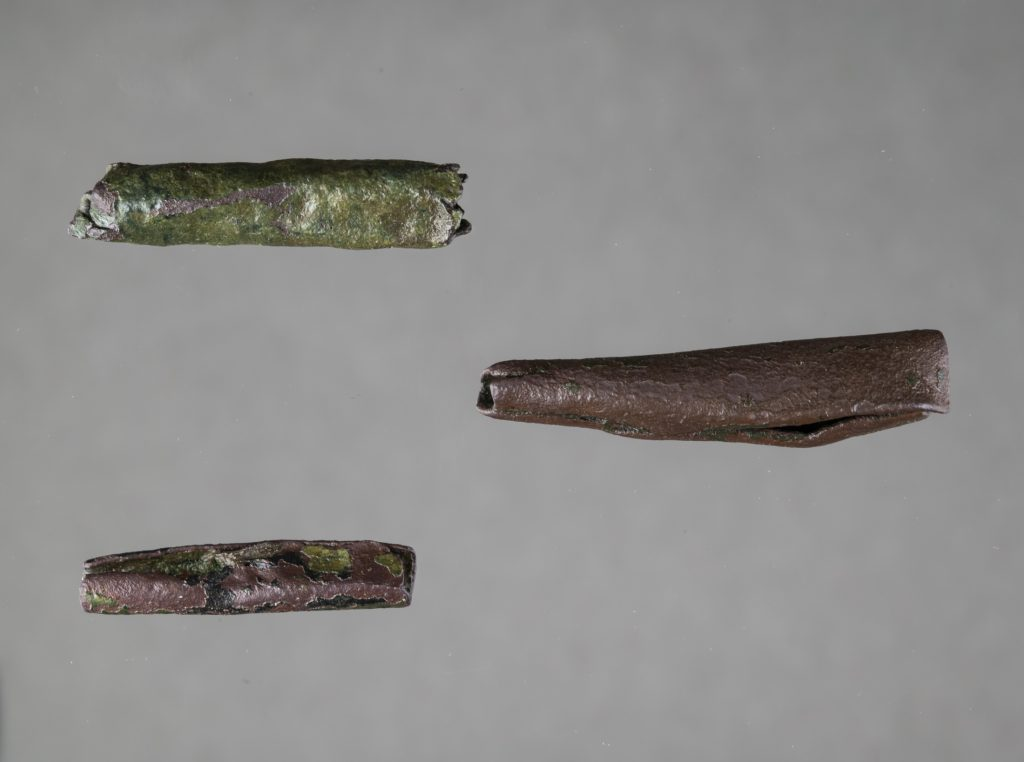 rolled pieces of copper