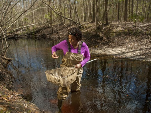 Adania Flemming examines a fish