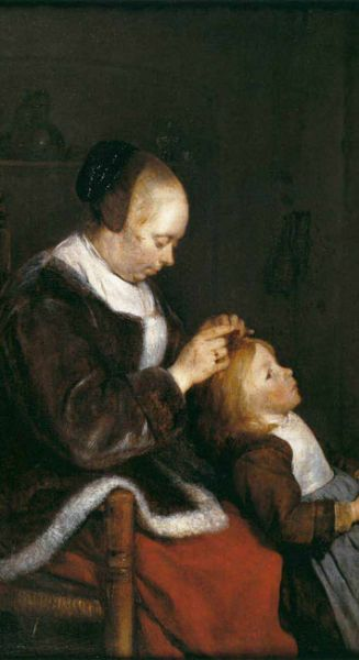 painting of woman looking for lice on child