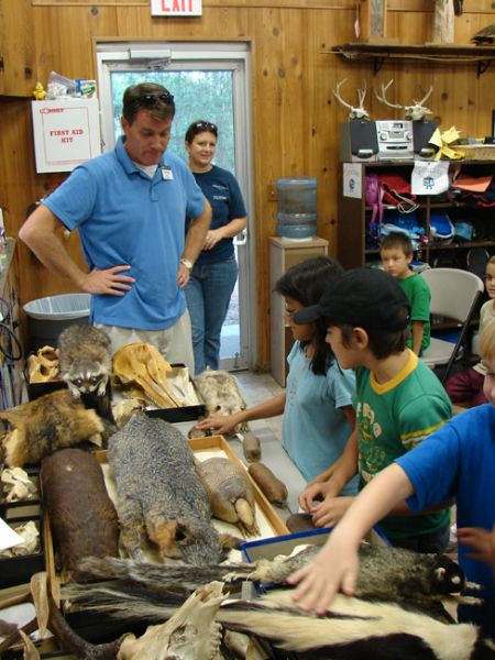 kids exploring mammals specimens
