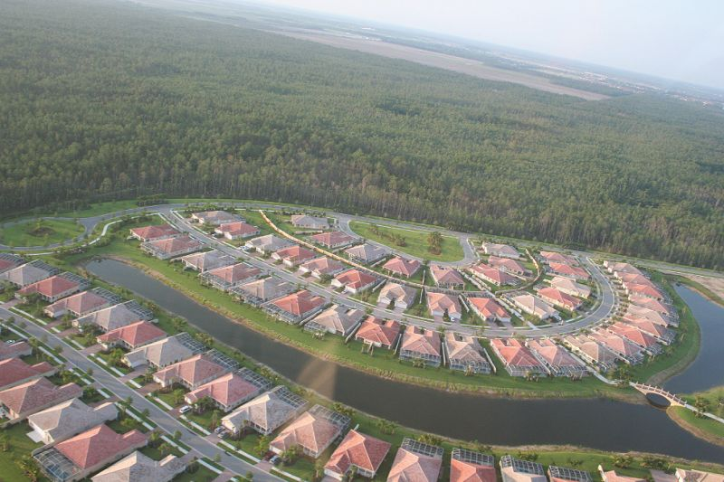 aerial view of a new neighborhood