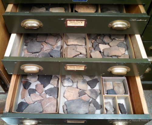 Drawers containing pottery sherds