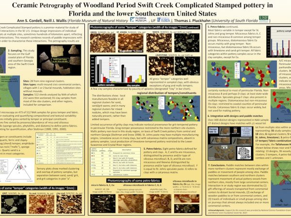 Poster for: Ceramic Petrography of Woodland Period Swift Creek Complicated Stamped potter in Florida and the lower Southeastern United States