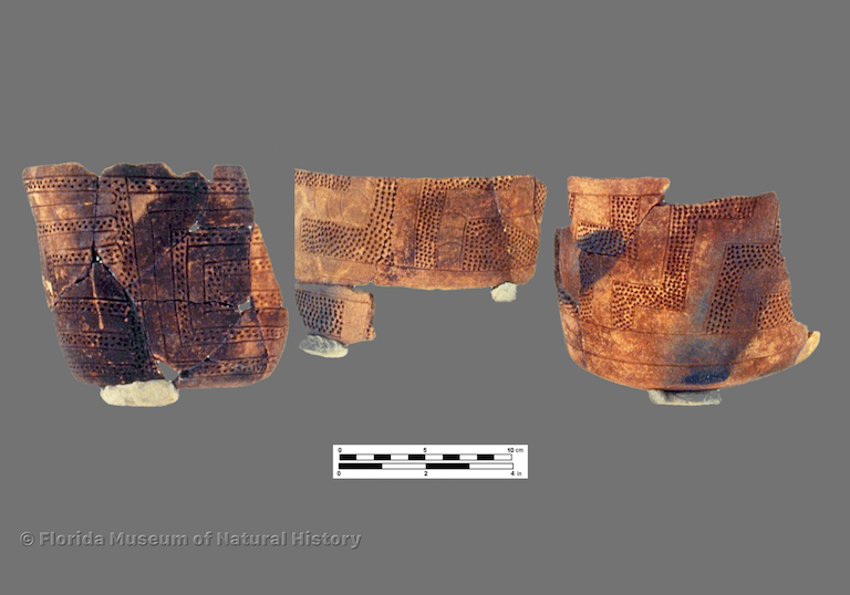 3 partially reconstructed vessels with zoned punctations