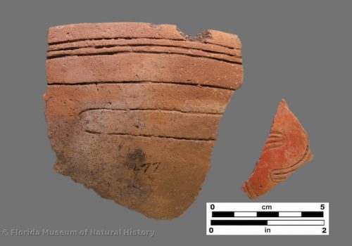 2 sherds with straight and curvilinear incising