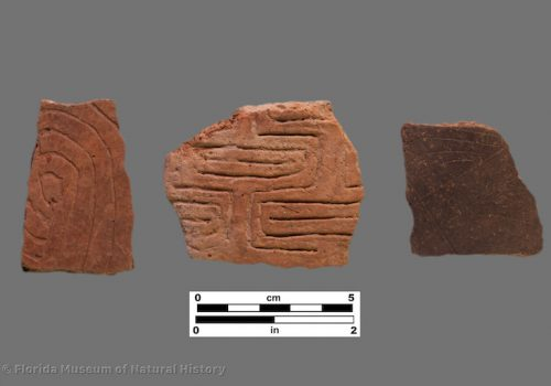 3 sherds with fine straight and curvilinear incising or engraving