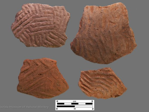 4 sherds with large complicated stamping