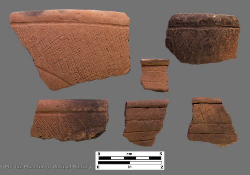 6 sherds with zones of fine incised crosshatching