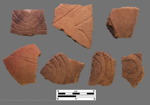 7 sherds with zones of crosshatched incising