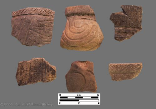 6 sherds with complex dentate stamped and incised zones
