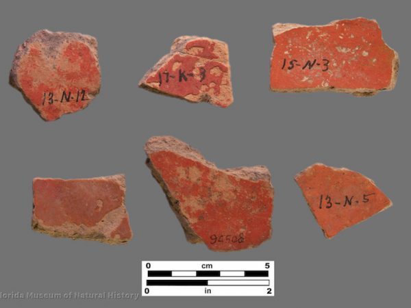 6 sherds of pottery with bright red surfaces
