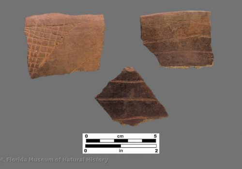 3 sherds with very fine line engraving