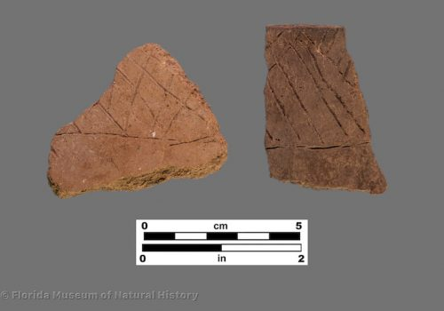 3 sherds with rough cross-hatching incisions