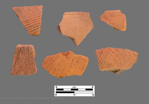 6 sherds with fine linear incising or engraving