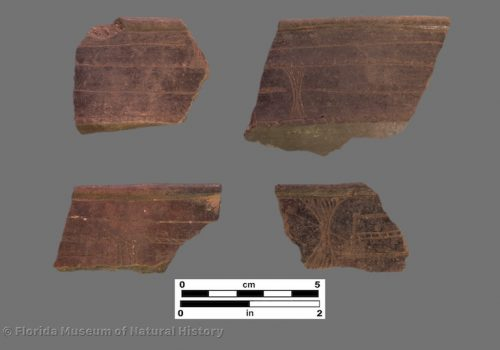 4 rim sherds with linear fine-line engraving