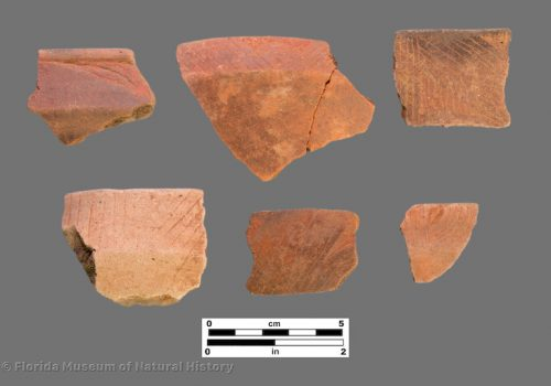 6 sherds with very fine angled and curvilinear engraving
