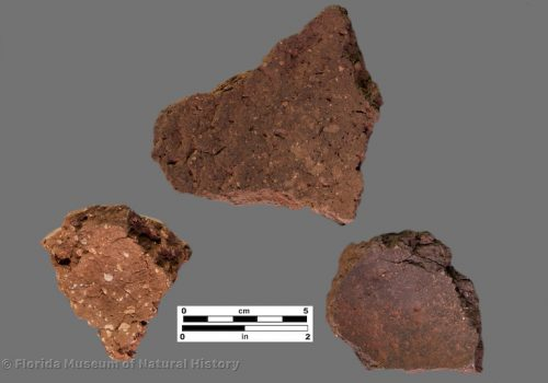 3 sherds of thick, coarse pottery