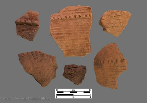 6 pottery sherds with brushed/incised exterior surfaces